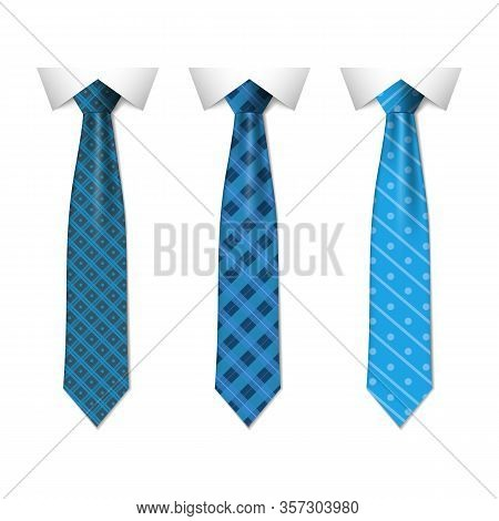 Set Different Blue Ties Isolated On White Background. Colored Tie For Men. Vector Plain Illustration