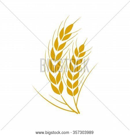 Set Of Simple Wheats Ears Icons And Wheat Logo Design Elements For Beer, Organic Fresh Food Corn Far