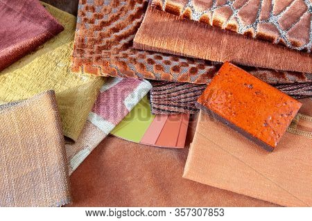 Earthy Terracotta Orange And Pale Green Interior Design Plan With Fabric Swatches, Paint Samples And