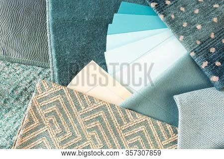 Teal Interior Decoration Plan With Fabric Samples And Paint Swatches