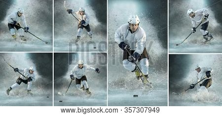 Collage of images with Caucasian ice hockey Player in dynamic action in professional sport game play under ice splash.