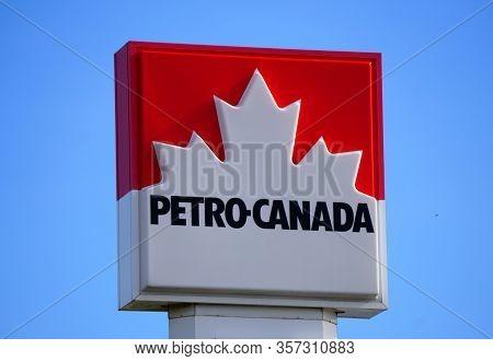 Ontario, Canada - October 28, 2019 - The Petro-canada Gas Station Sign