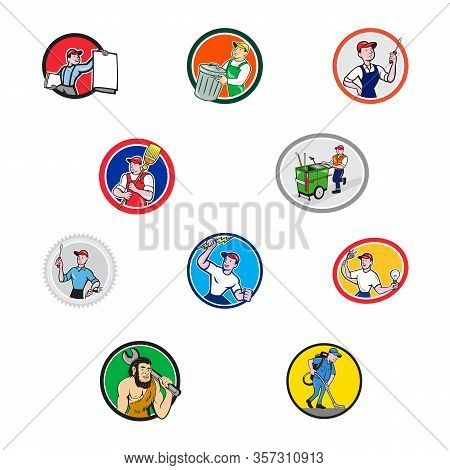 Set Or Collection Of Cartoon Character Mascot Style Illustration Of Tradesman, Industrial Worker Lik