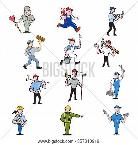 Set Or Collection Of Cartoon Character Mascot Illustration Of Tradesman, Industrial Worker Like Plum