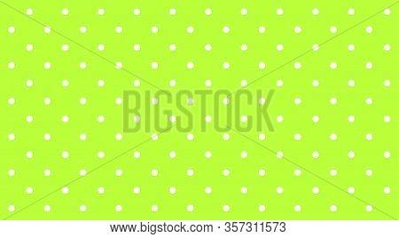 Polka Dot White On Lemon Green Background, Green Bright Simple With Polka Dot White Small Pattern, P