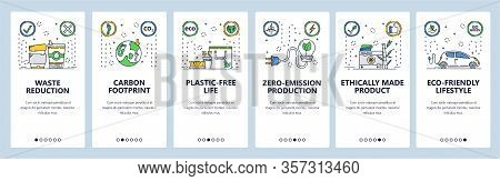 Eco Lifestyle Website And Mobile App Onboarding Screens Vector Template
