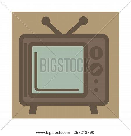 Tv Set With Antenna, Retro Device, Isolated Icon
