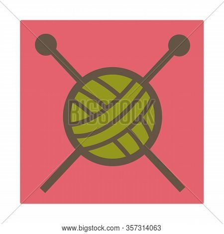 Knitting Hobby, Woolen Threads And Needles, Isolated Icon