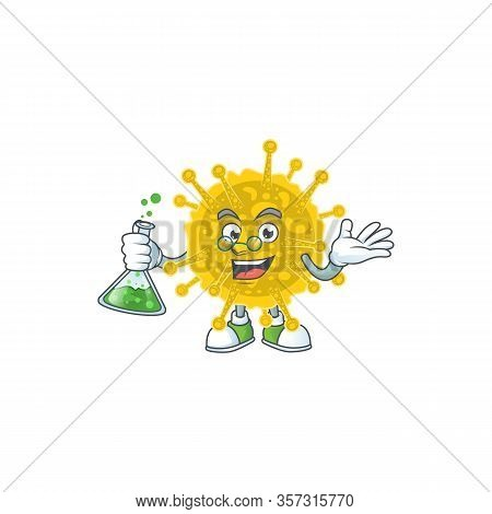 Coronavirus Pandemic Brainy Professor Cartoon Design Grasp A Glass Tube