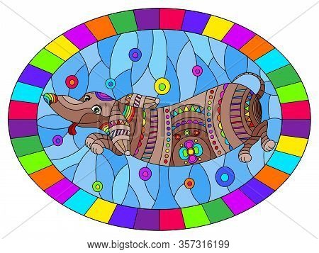 Illustration In Stained Glass Style With Abstract Rainbow Dachshund Dog On Blue Background,oval Imag