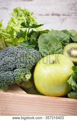 Fresh Ripe Green Fruits With Vegetables As Healthy Food Containing Natural Vitamins Or Minerals. Bod