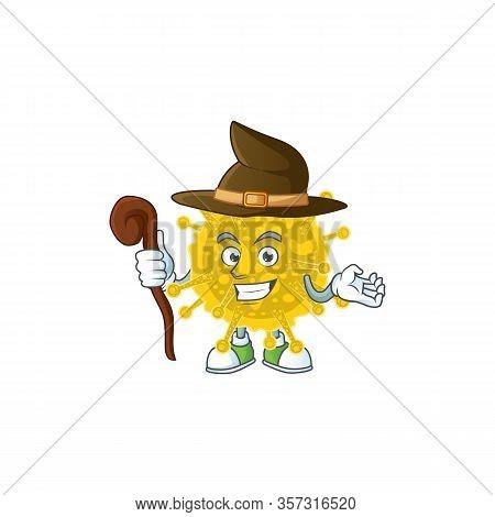 Sweet And Tricky Witch Coronavirus Pandemic Cartoon Character