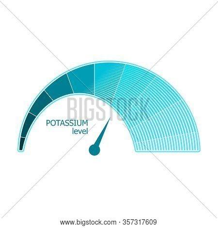 Blue Gradient Scale. Potassium Level Measuring Device Icon. Sign Tachometer, Speedometer, Indicators