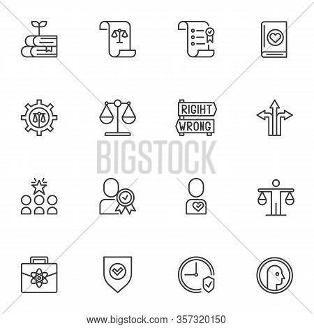 Business Ethics Line Icons Set. Linear Style Symbols Collection, Outline Signs Pack. Vector Graphics