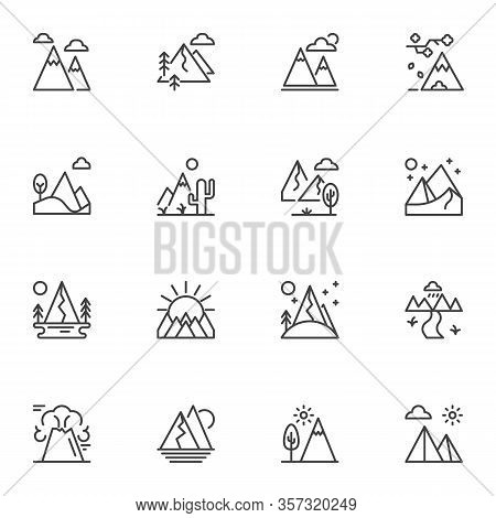 Mountain Landscape Line Icons Set. Linear Style Symbols Collection, Outline Signs Pack. Vector Graph