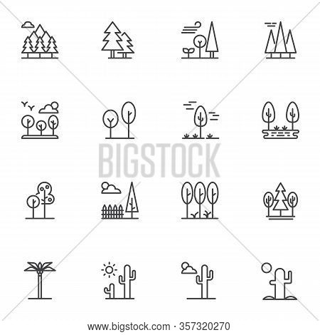 Nature Landscape Line Icons Set. Linear Style Symbols Collection, Outline Signs Pack. Vector Graphic