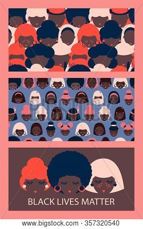Set Of Illustration And Two Seamless Patterns With Black Women Of Different Nationalities. Indian, A