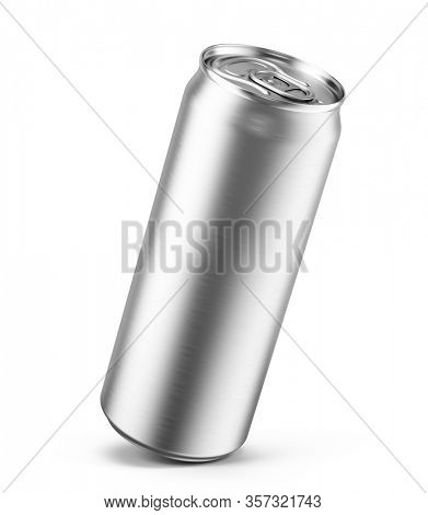 Aluminum can isolated on white. Blank metallic can. Energy drink, soda, beer, water, juice packaging. Empty mock up template. 3d rendering