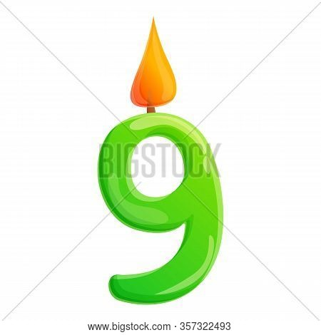Nine Number Candle Icon. Cartoon Of Nine Number Candle Vector Icon For Web Design Isolated On White