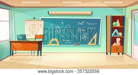 Classroom For Math Learning With Formula On Chalkboard. Vector Cartoon Illustration Of Empty School