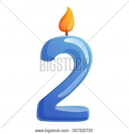 Second Number Candle Icon. Cartoon Of Second Number Candle Vector Icon For Web Design Isolated On Wh