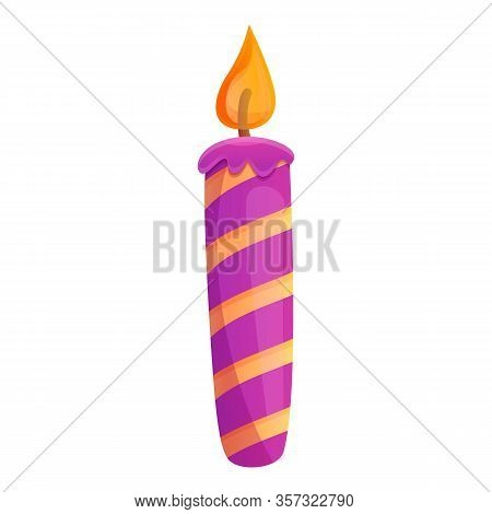 Violet Striped Candle Icon. Cartoon Of Violet Striped Candle Vector Icon For Web Design Isolated On