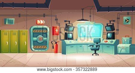 Underground Bunker Interior With Lockers, Control Panel With Monitors, Armored Door. Vector Cartoon