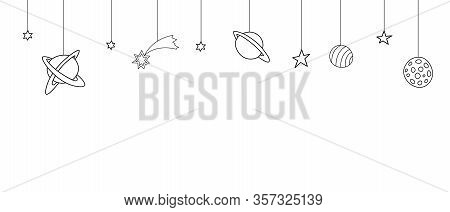 Seamless Pattern On Theme Of Space, Cosmos, Ufo. Background With Simple Contour Stars, Planets, Come