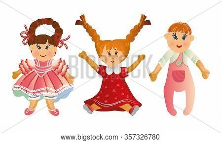 Set Of Cute Baby Dolls In Different Clothes And With Varied Hairstyles. Vector Illustration In Flat