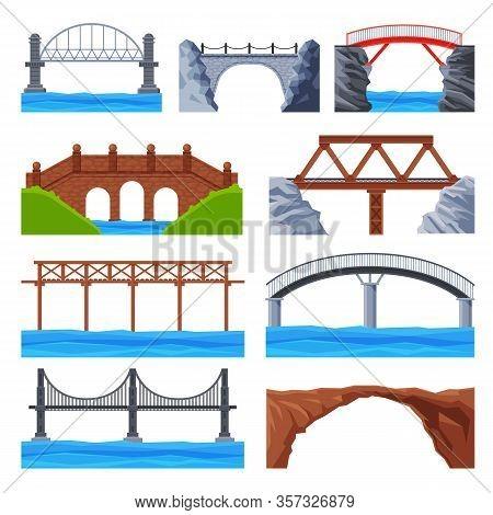 Various Bridges Collection, Urban Architecture Design Elements, Iron, Wooden And Stone Bridges Flat