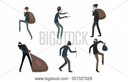 Set Of Thieves In Masks And Black Suits In Different Action Situations. Vector Illustration In Flat
