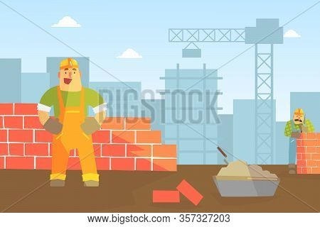 Male Builder Buiding Brick Wall, Construction Worker Character Flat Vector Illustration