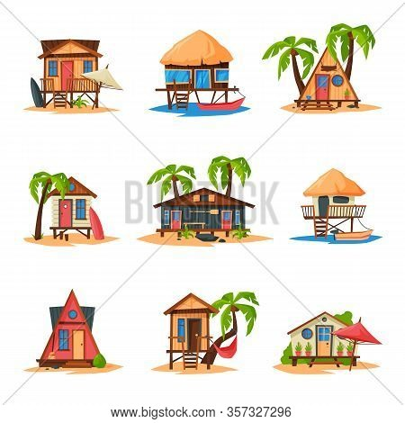 Collection Of Beach Bungalows On Coast Of Tropical Sea, Summer Seaside Vacation Wooden Cabins Vector