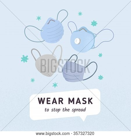 Poster With Various Ffp Coronavirus Mask For Medical Hospital. Prevention Pandemic Signboard, Covid-
