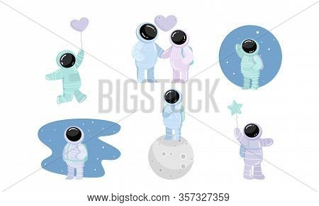 Set Of Spaceman In Special Spacesuits With Different Feelings. Vector Illustration In Flat Cartoon S