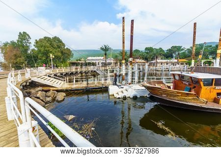 Ein Gev, Israel - March 16, 2020: View Of The Fishing Port Of Kibbutz Ein Gev, On The East Shore Of