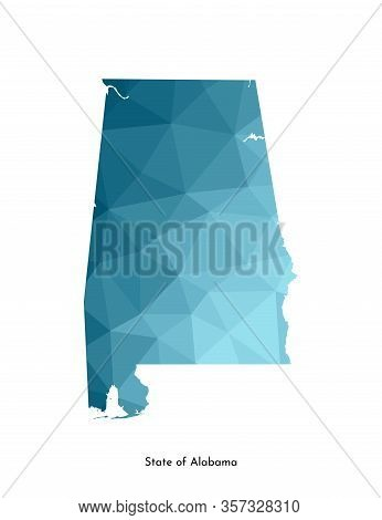 Vector Isolated Illustration Icon With Simplified Blue Map Silhouette Of State Of Alabama (usa). Pol