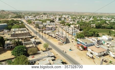 Maski, India 22, March 2020 : Aerial View Of Empty Roads, Closed Shops During Janata Curfew Or Lockd