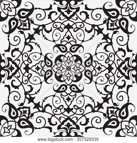 Ornate Floral Background, Seamless Pattern In Black And White