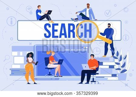 Searching Information In Internet, Communicating In Social Network, Shopping Online Trendy Flat Vect