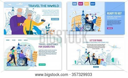 Landing Page Set Offer Best Tour For Senior And Disabled People. Personal Assistance During Transpor