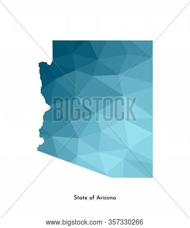 Vector Isolated Illustration Icon With Simplified Blue Map Silhouette Of State Of Arizona (usa). Pol