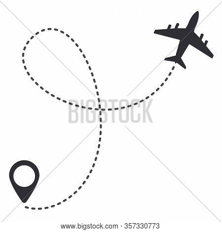 Aircraft Trail With Dotted Line. Traveler Tracks Marked With Dotted Lines. Aircplane Tracking On Rou