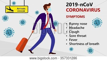 Symptoms Of Wuhan Novel Coronavirus 2019-ncov , Mers-cov, Man In Suit With Blue Medical Face Mask Mo