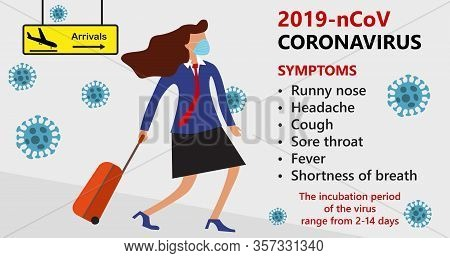 Symptoms Of Wuhan Novel Coronavirus 2019-ncov , Mers-cov, Woman In Suit With Blue Medical Face Mask