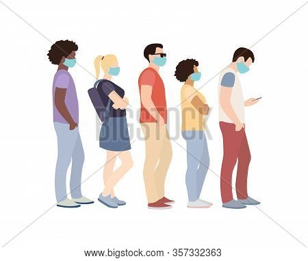Full Length Of Cartoon Sick People In Medical Masks Standing In Line Against White Background