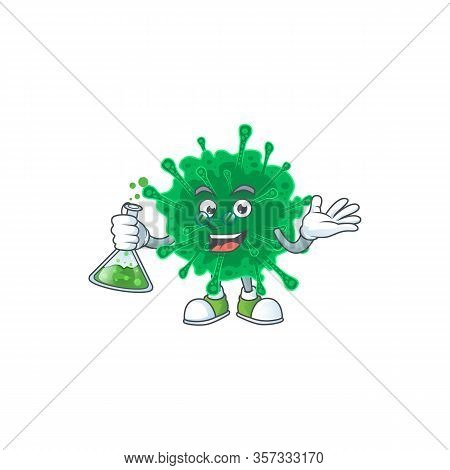 Coronavirus Pneumonia Brainy Professor Cartoon Design Grasp A Glass Tube