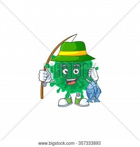 Cartoon Character Of Funny Fishing Coronavirus Pneumonia