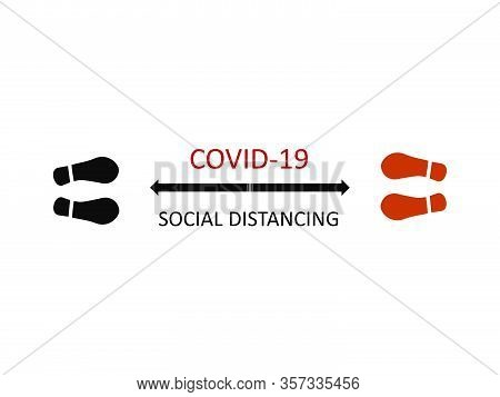 Social Distancing Due To Covid-19 Flat Illustration. Foot Steps And Social Distancing Symbols.