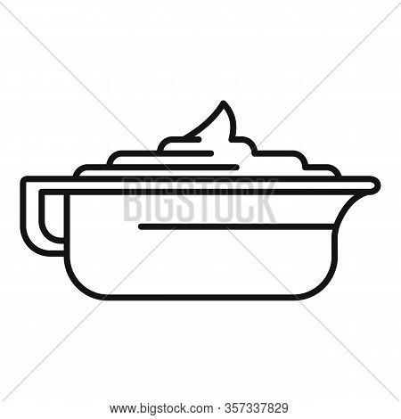 Mustard Sauce Bowl Icon. Outline Mustard Sauce Bowl Vector Icon For Web Design Isolated On White Bac